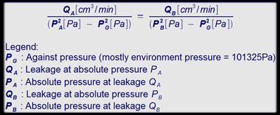 Calcultation from leakages by different pressures